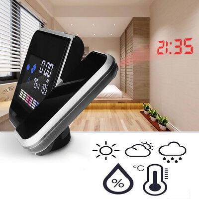 Projection Digital Weather Color Display LED Backlight LCD Snooze Alarm Clock