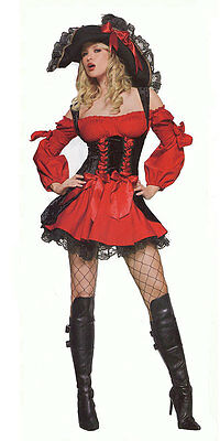Cheap Leg Avenue  Vixen Pirate Wench Costume in Red and Black (C230RD)