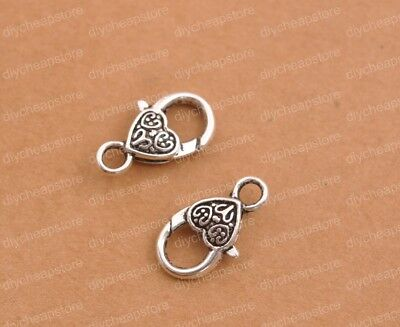 14.5x9.5mm Pack Of 8 UK Seller Tibetan Silver Heart Lobster Claw Clasps