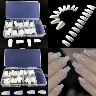 100Pc Cute Long Nail Art Tips Coffin Shape Full Cover False Ballerina Nails Gift