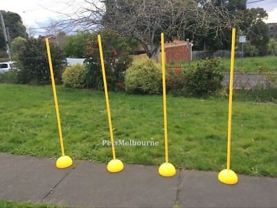 4pcs Multi-funtion Agility Slalom Training Poles w/ Round Base 1 Section Yellow