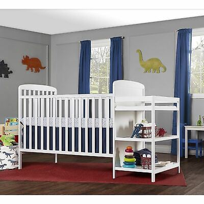 White Full Size Convertible 2-in-1 Crib Bed Baby Toddler Nursery Fixed-Side