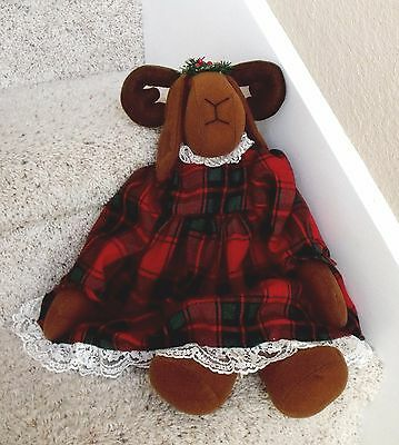 "Vintage 19"" Tall Reindeer Stuffed Christmas Decoration Doll w/Plaid & Lace Dress"