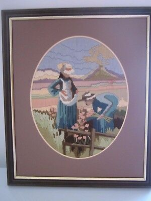 Lovely Vintage Completed Longstitch Picture * Professionally Framed*