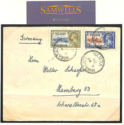 MS1030 1935 KGV Silver Jubilee KUT Issues *Mwatati* CDS Commercial Cover Germany