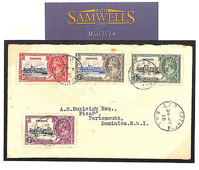 MS3514 1935 GRENADA KGV SILVER JUBILEE SET(4) Fine Used on Cover Dominica
