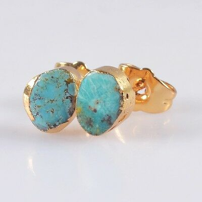 Natural Genuine Turquoise Stud Earrings Gold Plated T042845