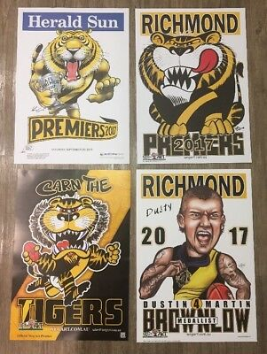 2017 Richmond Tigers Premiers Poster WEG Knight Wegart Dusty Brownlow