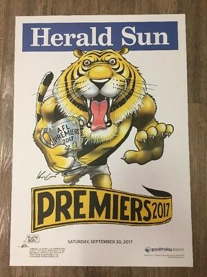 2017 Richmond Tigers Premiers Poster WEG/Knight 100% Original