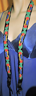 vintage glass beaded belt necklace or trim  red yellow green beads