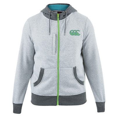 New Canterbury CCC Zip Through Hooded Rugby Sweat Pale Grey Large E553330