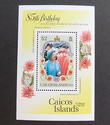 Caicos 1985 Queen Mother 85th Birthday MS MNH UM unmounted mint