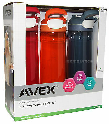 3 x Avex Wells Auto Seal Water Drinking Bottles BPA Free New Autoseal Pu/Or/Gry