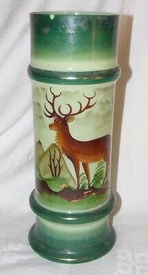 Antique Opaline Glass Hand Painted Vase Stag Decoration Green Enamel