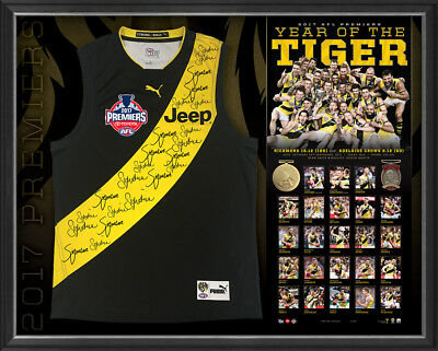 2017 Premiers Richmond Tigers Official AFL Signed Team Jumper Framed - MARTIN