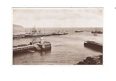 Vintage Valentine's pc: Steamers at Douglas Harbour, Isle of Man.