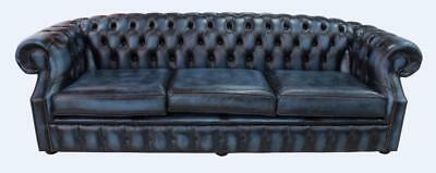 Chesterfield Buckingham 4 Seater Antique Blue Leather Sofa Settee