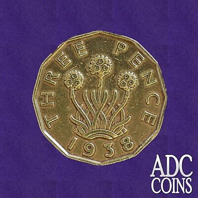 1938 Threepence Brass (3d) George VI Coin - Birthday/Anniversary/Collection/Gift