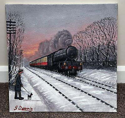 Northern Artist James Downie Large Original Oil Painting Art 'watching Trains'