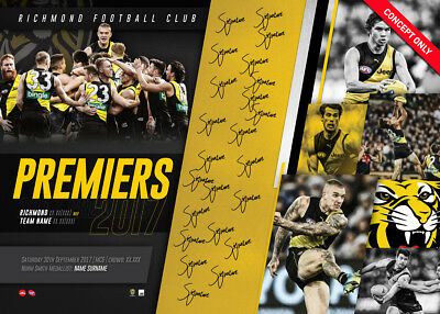 Richmond 2017 Premiers Team Signed AFL Official Print Only Martin Cotchin