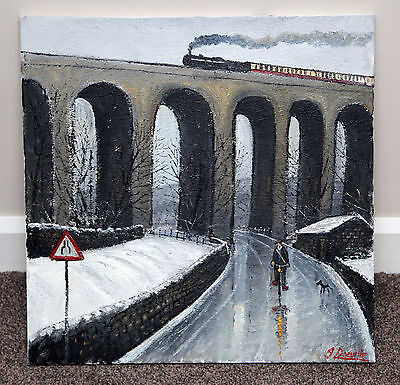 Northern Artist James Downie Large Original Oil Painting Art 'dent Head Viaduct'