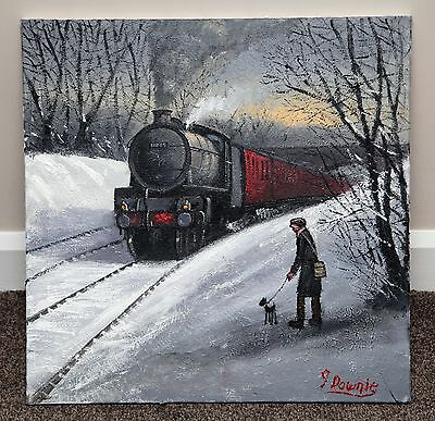 Northern Artist James Downie Large Original Oil Painting Art 'steam Train'