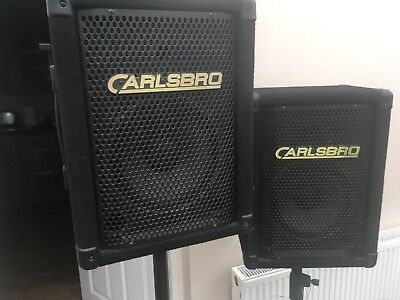 Carlsbro Passive band Speakers Plus Tripod Stands . Ideal For Small Band
