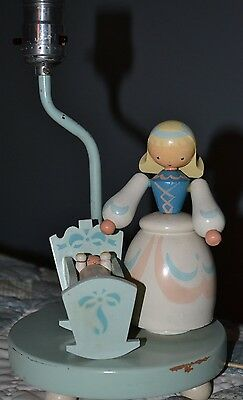 Nursery/Infant Lamp Vintage 1950s Wooden Woman with Baby in Cradle