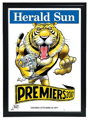 2017 Premiers Richmond Tigers Herald Sun Mark Knight Print Framed - IN STOCK