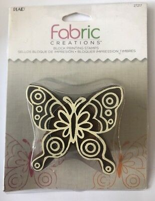 Plaid Fabric Creations Block Printing Stamps Doodle Butterfly 27217 New/Sealed