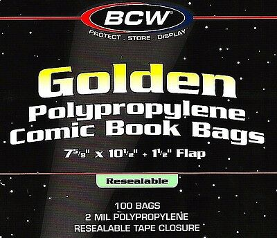 100 Golden Comic Resealable Bags and Boards BCW Quality Archival Book Storage
