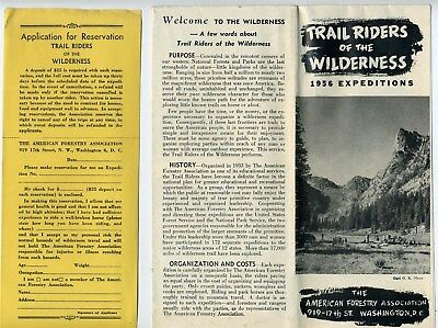 1956 Trail Riders of the Wilderness 1956 Expeditions Brochure & Application