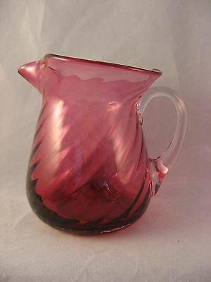 Pilgrim Hand blown Swirl Cranberry Red Glass Pitcher w clear Handle 1960's