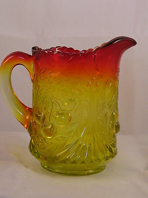 Amberina Glass Wreathed Cherries Creamer - Mint Condition