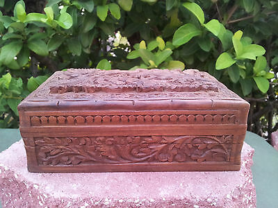 Antique Heavily Carved Oriental Wooden Box Mechanical Trick Lock