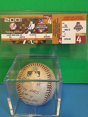 Alfonso Soriano Autographed Game Used Baseball 2001 ALCS