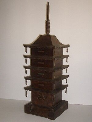 Japanese Vintage Wood 5 Story Pagoda Jewelry Accessory Box Case Made in Japan