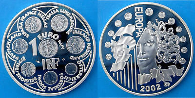 FRANCE 1,5 E 2002 ARGENTO PROOF SILVER EURO INTRODUCTION OF THE EURO PESO 22,2g