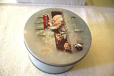 Collectible Large Norman Rockwell's Below Zero Blue Ice Cookie Tin