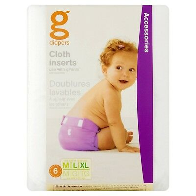 Baby 6 pk gDiapers Cloth Inserts for Cloth gPants Diapers - Small, M/L/XL
