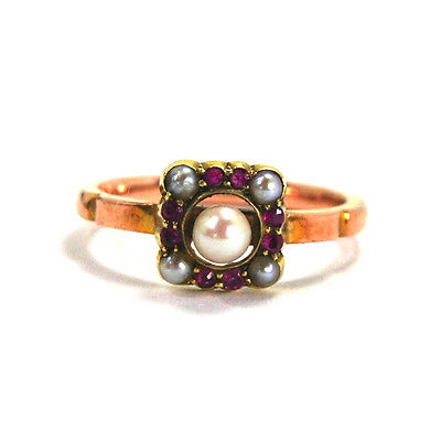 Antique Art Deco Seed Pearl and Genuine Red Ruby Ring 9k Rose and Yellow Gold