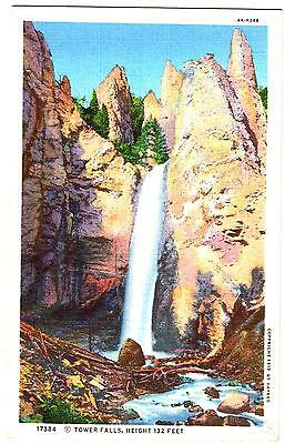 Tower Fall & Towers - Yellowstone Park - Wyoming - Linen Postcard Unused #17384