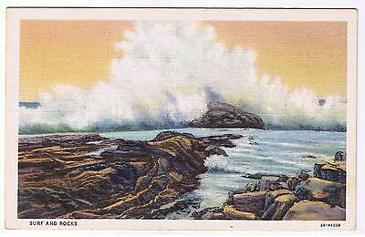 Surf And Rocks Linen Vintage Postcard # 3A-H1008