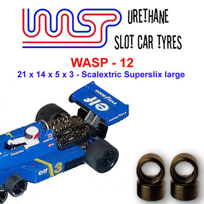 WASP 12 - Urethane Slot Car Tyres x 4 - Scalextric Superslix Large