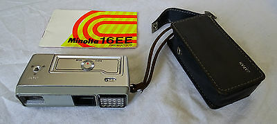 Minolta 16EE 16mm Film Subminiature Spy Camera whith leather case and manual