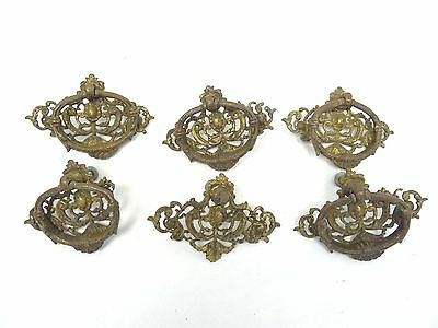 Antique Lot Old Metal Brass Ornate Decorative Drawer Cabinet Pulls Handles Parts