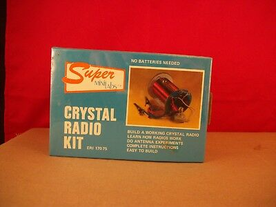 1970's Super Mini Labs ERI 170-75 Science Kits Crystal Radio Kit Factory Sealed