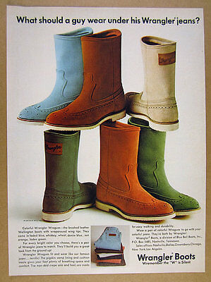 1969 Wrangler WROGUES Boots blue orange green boot photo vintage print Ad