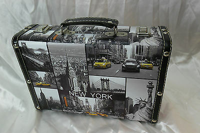 "Small Suitcase/Accessory Box with New York City Theme 11-3/4"" x 8-1/4"" x 3-3/4"""
