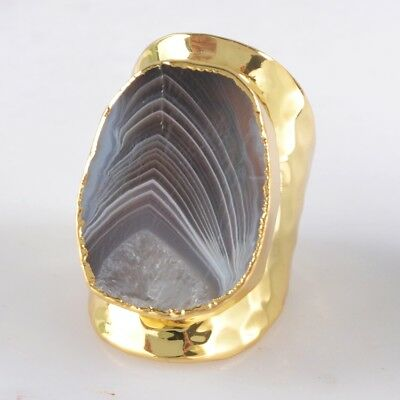 Scratched Size 6 Botswana Agate Ring Gold Plated T042805